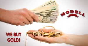 """One hand holds out cash in exchange for gold jewelry. Text reads """"We Buy Gold"""" and the Modell Loans Logo is displayed."""